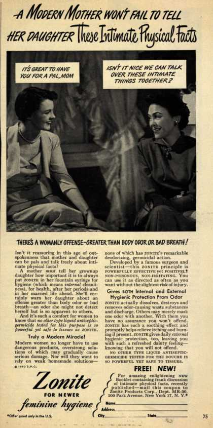 Zonite Products Corp.'s Douche – A Modern Mother Won't Fail To Tell Her Daughter These Intimate Physical Facts (1950)