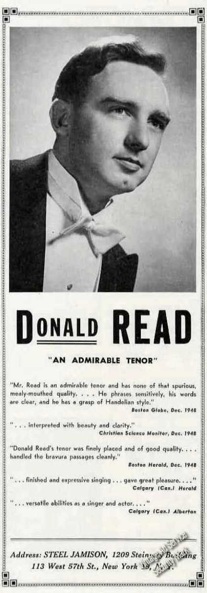 Donald Read Photo Tenor Music Booking (1949)