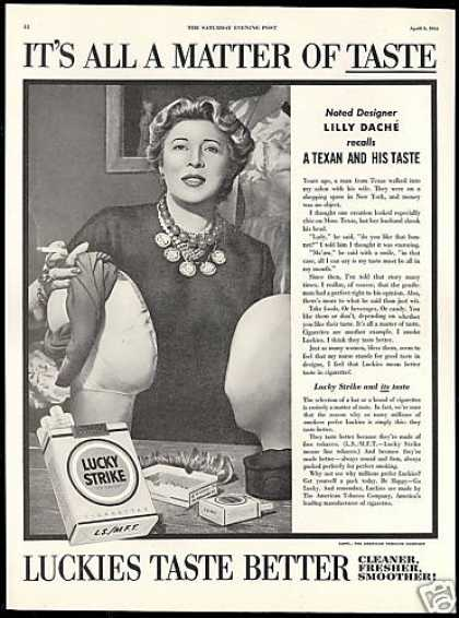 Lilly Dache Hat Designer Lucky Strike Cigarette (1954)