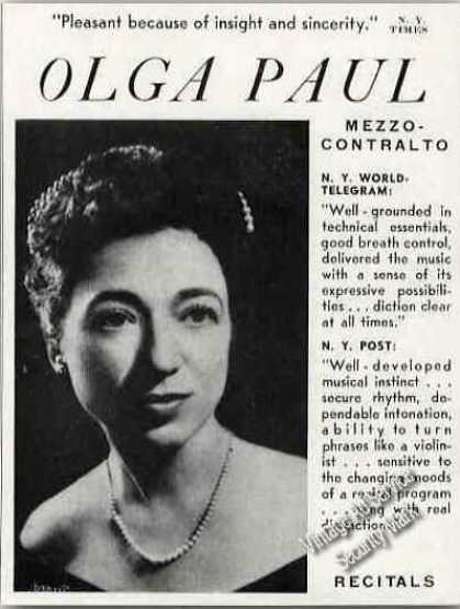 Olga Paul Photo Mezzo-contralto Trade (1949)