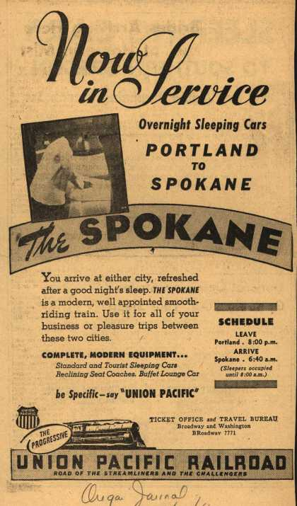 Union Pacific Railroad's The Spokane – Now in Service Overnight Sleeping Cars Portland to Spokane (1946)