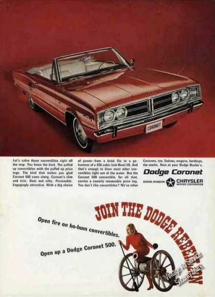 Red Dodge Coronet Convertible Car (1966)