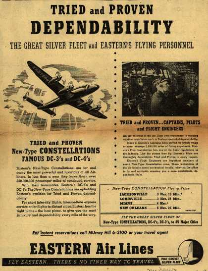 Eastern Air Line's Dependability – Tried and Proven DEPENDABILITY The Great Silver Fleet and Eastern's Flying Personnel (1948)