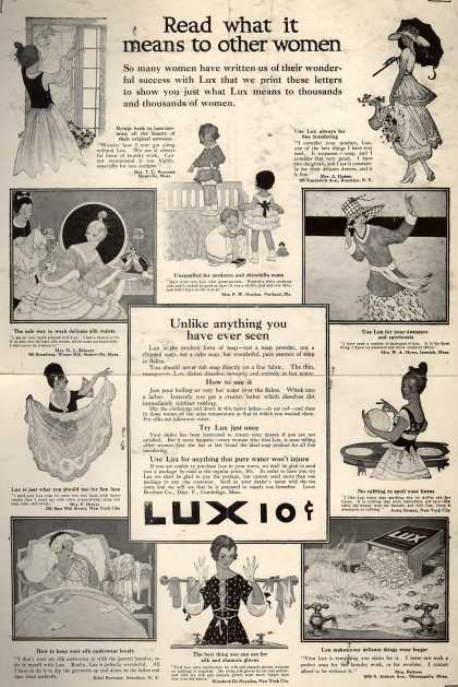 Lever Bros.'s Lux (laundry flakes) – Read what it means to other women (1916)