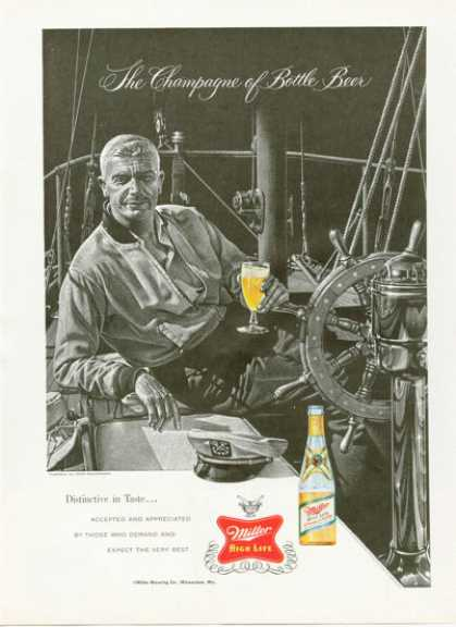Miller Beer Ad Sailing Theme Sailboat Captain (1958)