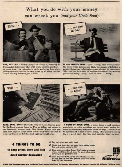 War Advertising Council's Anti-inflation – What you do with your money can wreck you (and your Uncle Sam) (1945)