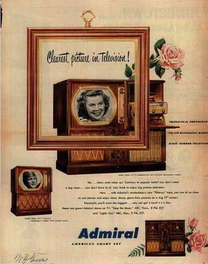 Admiral Corporation's Television Combinations – Clearest Picture in Television (1950)