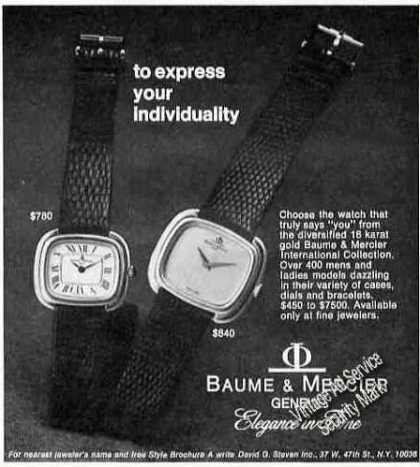 Elegance In Baume & Mercier Watches (1975)