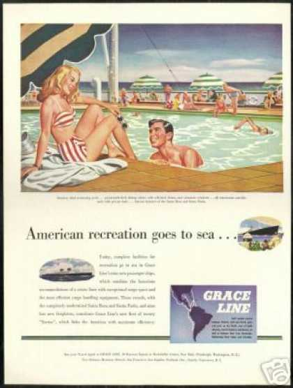 Grace Line Cruise Ship Outdoor Pool (1946)