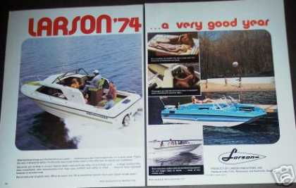 Larson Boat for '74 Original 2pg Photo (1973)