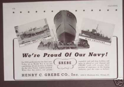 Grebe Yacht Navy Tug Boat & Mine Sweepers Photo (1943)