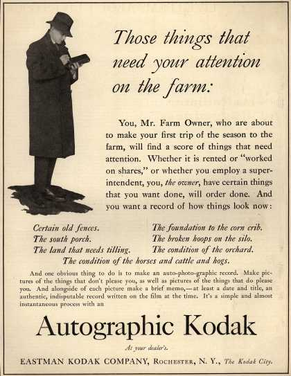 Kodak's Autographic cameras – Those things that need your attention on the farm (1917)