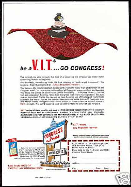 Congress Inns Motor Hotel V.I.T. Card (1963)