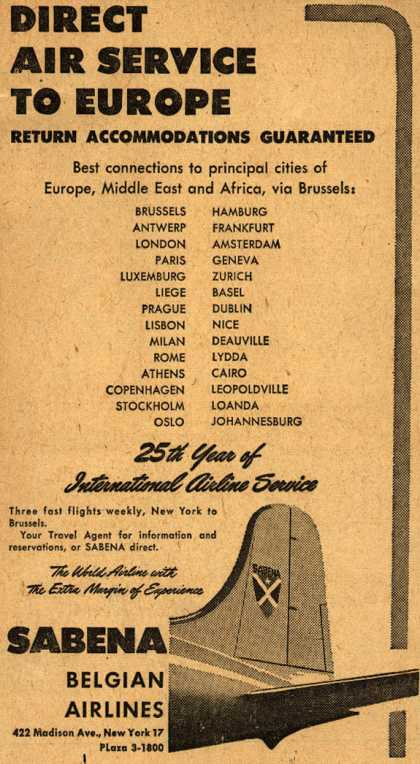 Sabena Belgian Airline's Direct Service to Europe – Direct Air Service To Europe (1948)