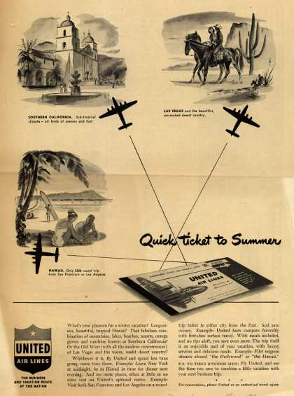 United Air Line's various destinations – Quick ticket to Summer (1949)