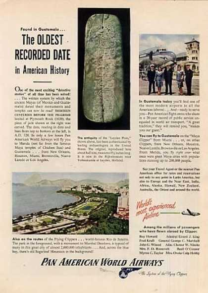 """Pan American World Airways Ad """"The Oldest... (1947)"""