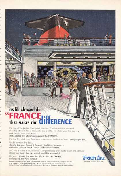 French Line Cruise Ship France Art Work (1966)