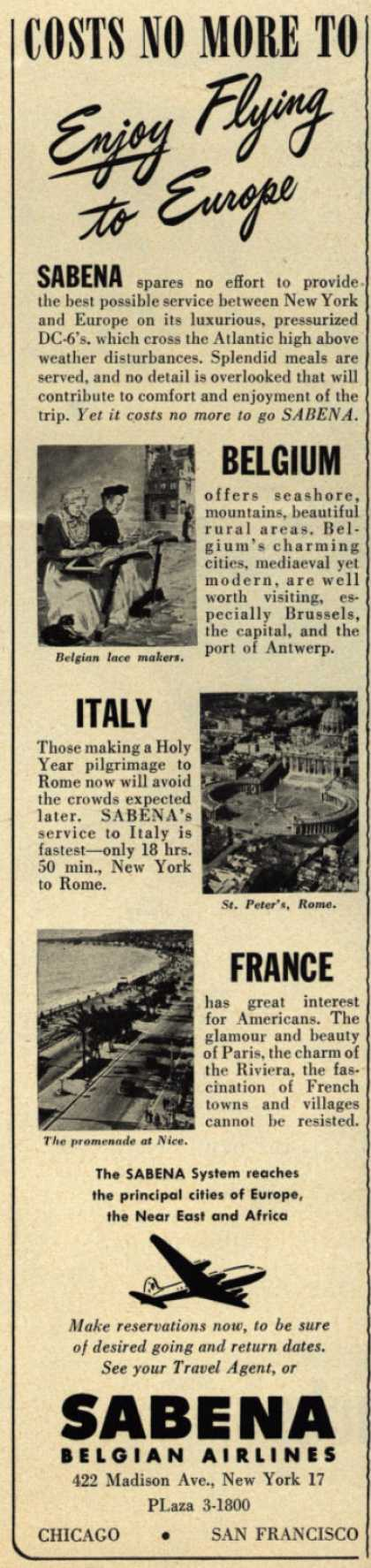 Sabena Belgian Airlines – Costs No More To Enjoy Flying to Europe (1950)