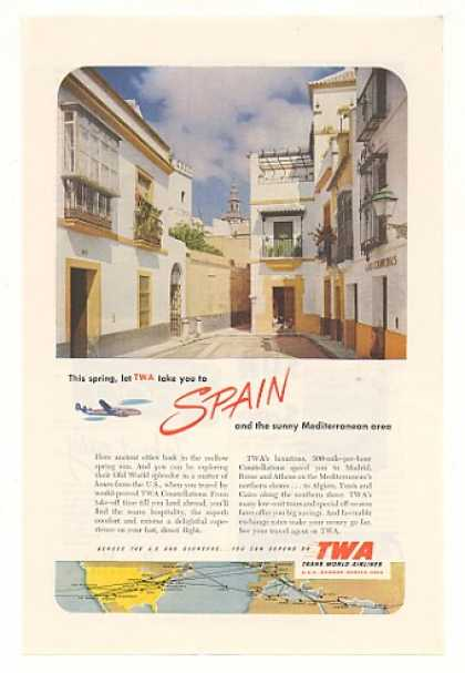 Old World Spain TWA Airlines Route Map (1952)