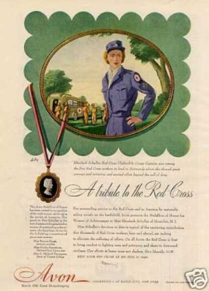 """Avon Cosmetics Ad """"A Tribute To the Red Cross... (1945)"""