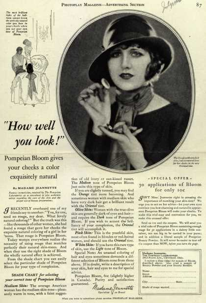 """Pompeian Bloom's rouge – """"How well you look!"""" (1924)"""