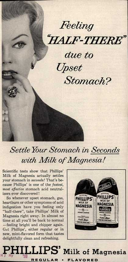 """Chas. H. Phillips Chemical Co.'s Milk of Magnesia – Feeling """"Half-There"""" due to Upset Stomach? (1958)"""