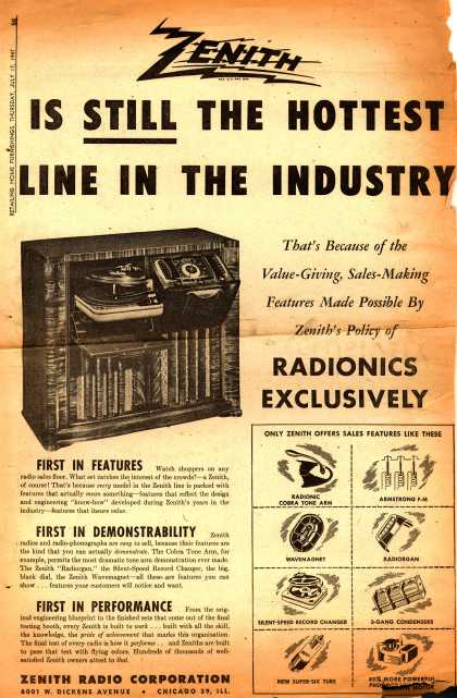 Zenith Radio Corporation's Various – Zenith is Still the Hottest Line in the Industry (1947)