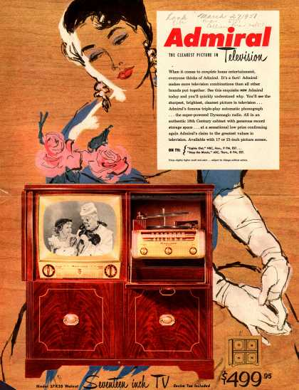 Admiral Corporation's Seventeen inch TV – Admiral, The Clearest Picture in Television (1951)