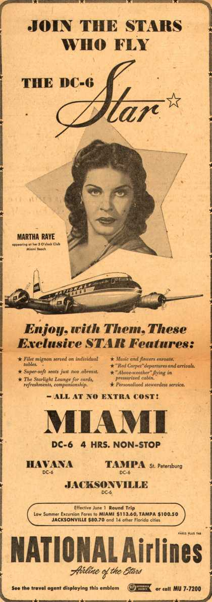 National Airline's Miami – JOIN THE STARS WHO FLY THE DC-6 Star (1952)
