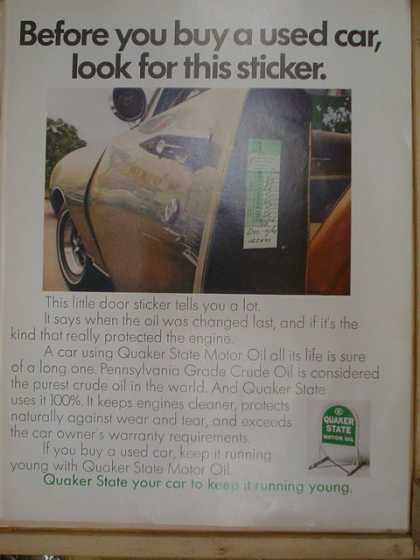 Quaker State Motor Oil. Before you buy a used car, look for this sticker. (1969)
