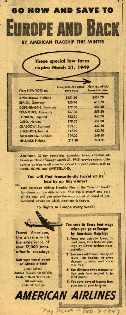 American Airline's European Travel – Go Now and Save to Europe and Back (1949)