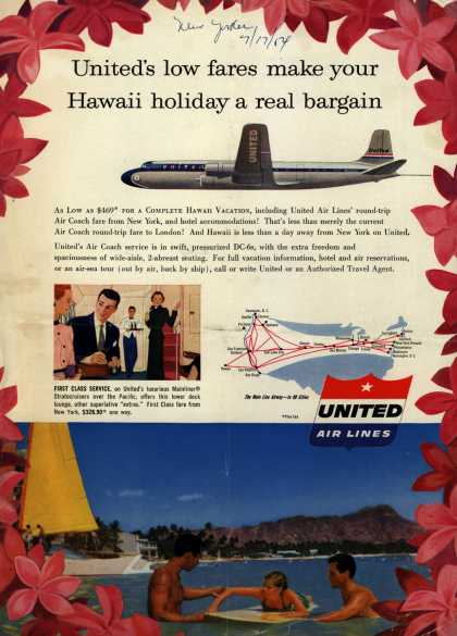 United Air Line's Hawaii – United's low fares make your Hawaii holiday a real bargain (1954)