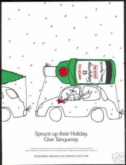 Tanqueray Gin Bottle Christmas Tree Car Roof (1989)