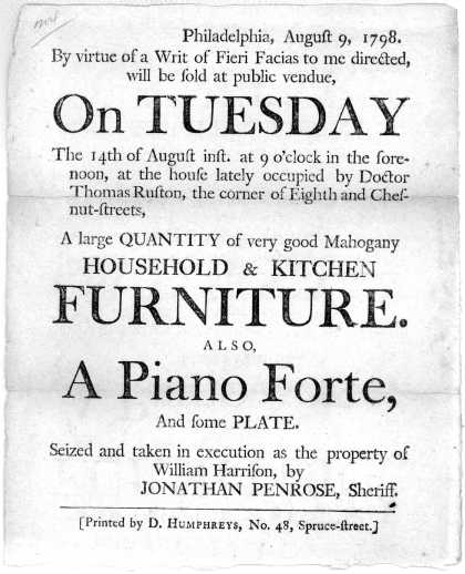 Philadelphia, August 9, 1798. By virtue of a writ of fieri facias to me directed, will be sold at public vendue on Tuesday the 14th of August inst, at (1798)