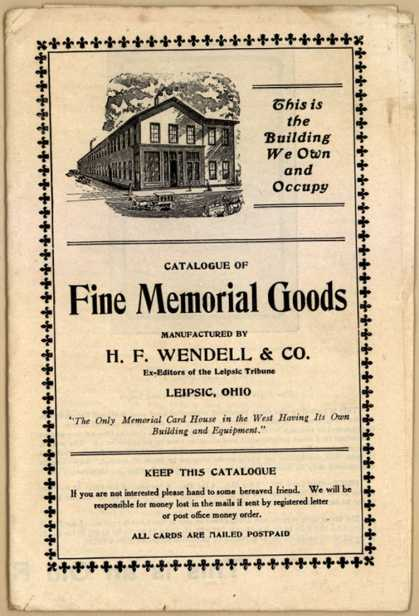 H. F. Wendell & Co.'s Memorial Goods and Cards – Catalogue of Fine Memorial Goods