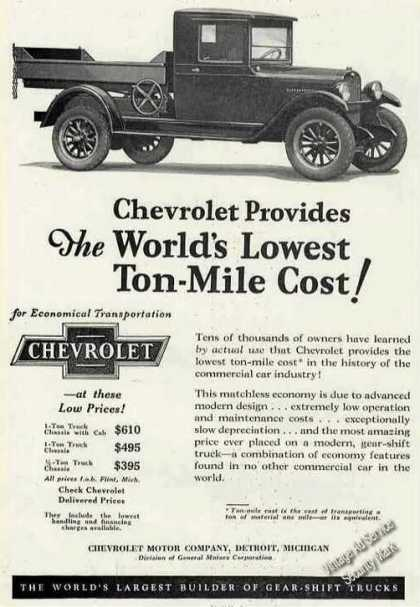 Chevrolet Truck Photo Lowest Ton-mile Cost (1927)