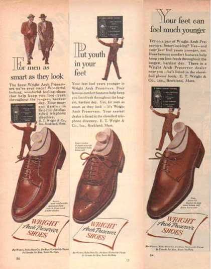Wright Brand Shoes Ads – with Arch Preserver – Set of Three (1952)