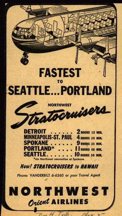 Northwest Airline's various destinations – FASTEST TO SEATTLE... PORTLAND (1949)