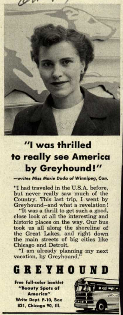 """Greyhound – """"I was thrilled to really see America by Greyhound!"""" (1951)"""
