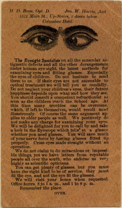 Columbia Refracting Company's eye care – H. D. Reese, Opt. D. Jno. W. Harris, Asst.