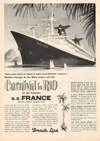 French Line Cruise Ship Boat Carnival In Rio (1962)