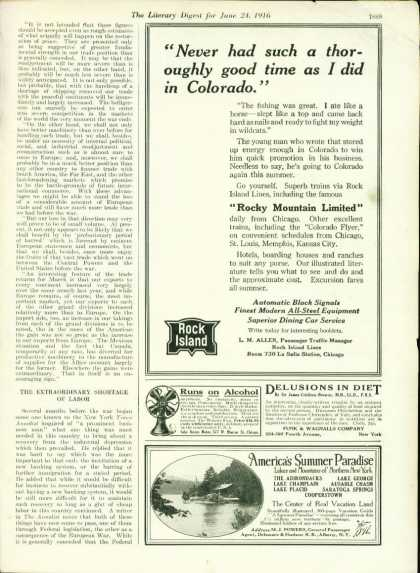 Rock Island 1/2 Page Ad Rocky Mountain Limited (1916)