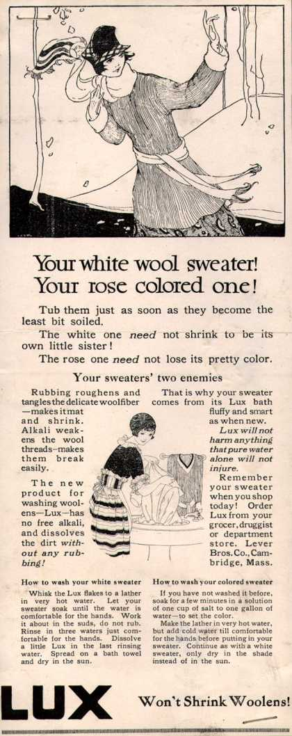 Lever Bros.'s Lux (laundry flakes) – Your white wool sweater! Your rose colored one (1917)