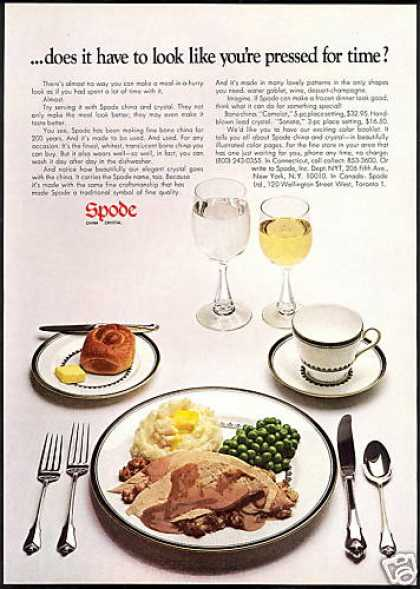 Spode China Crystal TV Dinner 2 Page (1969)