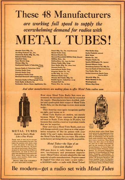 Variou's Metal Tubes – These 48 Manufacturers are working full speed to supply the overwhelming demand for radios with Metal Tubes (1935)