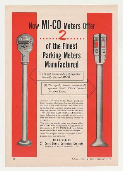 MI-CO Manual Automatic Twin Parking Meter (1952)