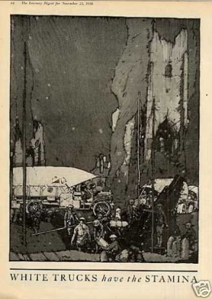 """White Trucks 2 Page Ad """"First In War... (1918)"""