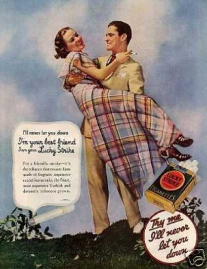 """Chesterfield Cigarettes Ad """"I'll Never Let You.. (1935)"""
