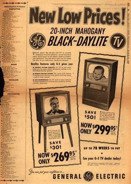 General Electric Company's Black-Daylite TV – New Low Prices (1952)