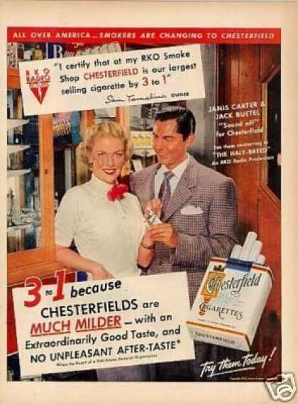 Chesterfield Cigarette Ad Janis Carter/jack Buetel (1952)